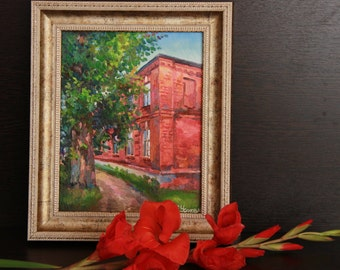 Oil architecture art work, Oil painting of red building, Interior oil art work