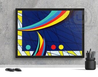 Sails Print - PRINTABLE ART, digital art, wall art, art prints, acrylic on canvas, pop art, abstract artwork, colorful, blue, yellow, red