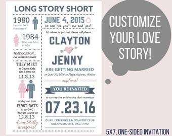 Printable Wedding Invitation / Our Love Story / Custom / Destination / Reception Invites / Funny / Long Story Short / Infographic