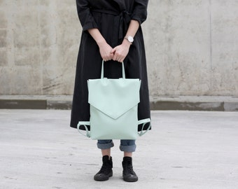 Vegan leather backpack - Mint minimal backpack - Faux leather backpack