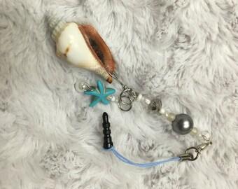 Shell and starfish phone charm/ dust plug