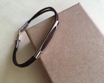 String noodle chocolate leather silver bracelet