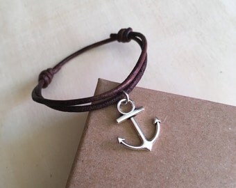 Chocolate leather cord bracelet