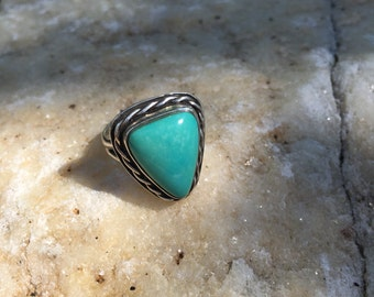 Turquoise Sterling Silver Triangle Ring