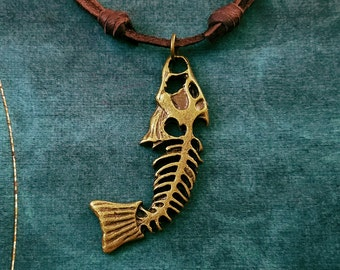 Fish Bones Necklace Dead Fish Necklace Fossil Necklace Charm Necklace Leather Necklace Brown Cord Necklace Men's Jewelry Boyfriend Necklace