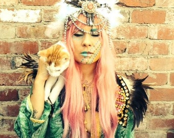 pastel feather headdress with jewels , festival headdress,