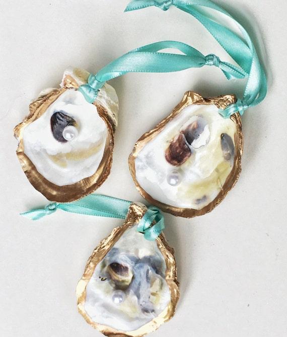 Items Similar To Oyster Shell Ornament Set Aqua Ribbon