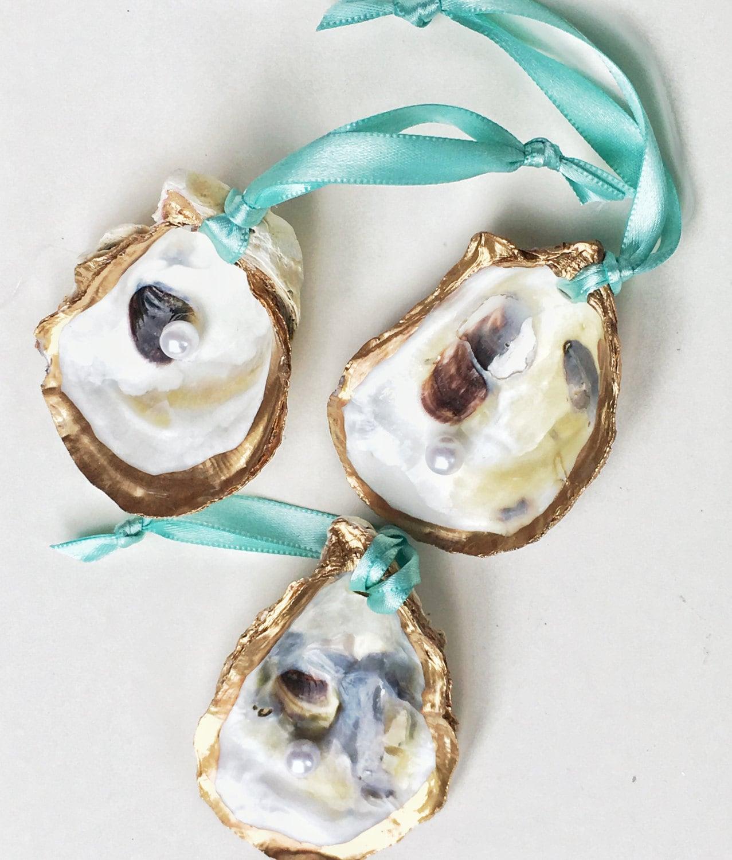 Oyster Shell Ornament Set Aqua Ribbon Seashell Christmas