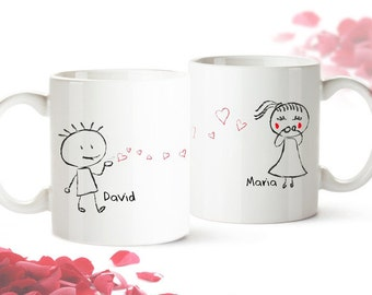 Set of 2 Coffee Mugs - Personalised with Names - For Couples - Romantic Valentines Gift