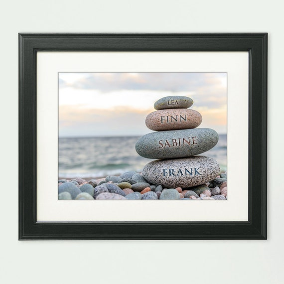 Stones Cairn – Framed Picture - Personalised with Names