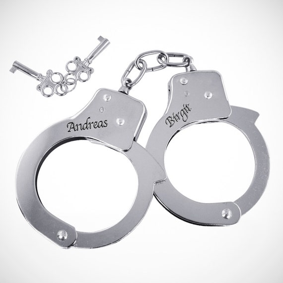 Stainless Steel Handcuffs – Engraved With Names - Personalised Wedding Gift