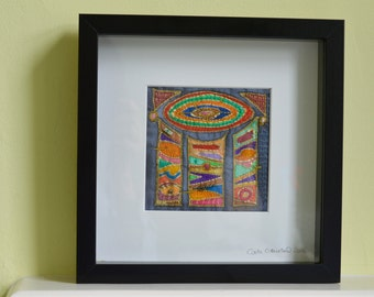 Hand painted and embroidered abstract textile art by UK textile artist.