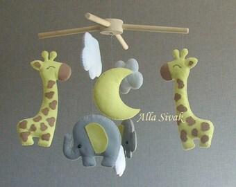 Elephant Giraffe Mobile, Grey Yellow mobile, Elephant Mobile, Giraffe Mobile, Elephants and cloud mobile, Elephants and giraffes baby mobile