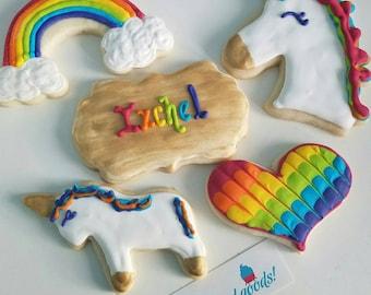 Unicorn rainbow cookies