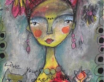 Frida Kahlo 48 - Original Gemälde, Mixed Media Portrait, Acrylbild, Mischtechnik