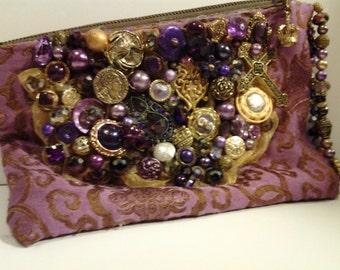 Purple Japanese Tapestry Wristlet, hand-dyed. lavishly decorated