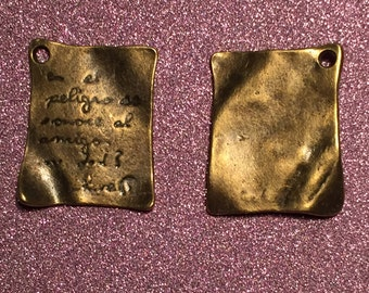 10 Book Pages charms - Antique Bronze