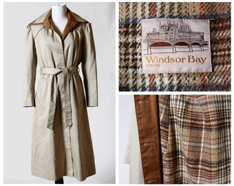 Vintage Women's Coat - 80s JC Penney Retro 11-12 Trench Penny Plaid Overcoat