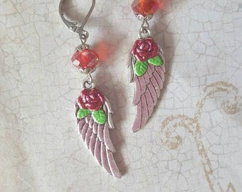 Angelic - Hand Painted Winged Rose Earrings with Crystal in Ruby Red