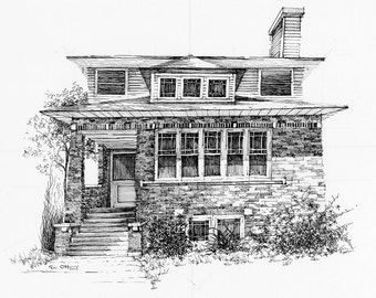 Chicago Bungalow Fine Art Print 9x12
