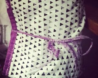 Purple Tie Dye and Black Triangle Blanket - Boho Blanket - Tie Dye Blanket