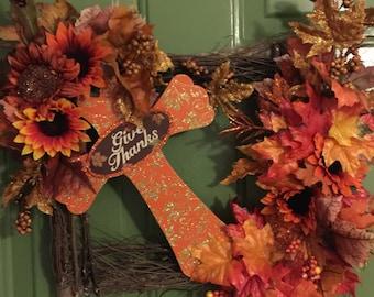 Fall wreath, Square grapevine wreath, Fall grapevine wreath