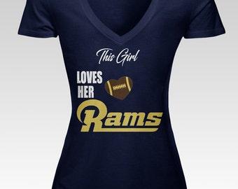 Loves Her Rams Women's V Neck Tee