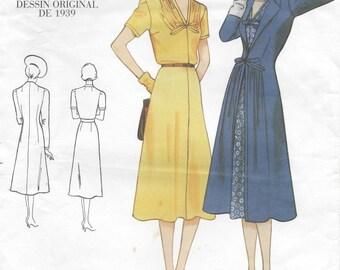 "1939 Vintage VOGUE Sewing Pattern DRESS-COAT B34""-36""-38"" (R409) Vogue 2669"