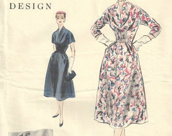 1954 Vintage VOGUE Sewing Pattern B34 DRESS (1614) Vogue 791