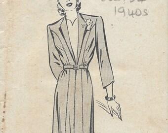 """1940s Vintage Sewing Pattern B34"""" DRESS (181) Bestway  C.20,897"""