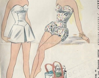 1955 Vintage Sewing Pattern B34 BATHING SUIT, SKIRT, Trunks, Bloomers (R890) McCall's 3165