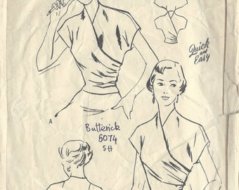 """1950s Vintage Sewing Pattern BLOUSE B36"""" (R546) Butterick 5074"""