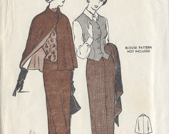 "1940s Vintage Sewing Pattern B36"" CAPE-SUIT & WESKIT (R386) Butterick 4763"