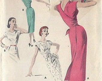 "1950s Vintage Sewing Pattern DRESS B36""-S18 (19) Butterick 7654"