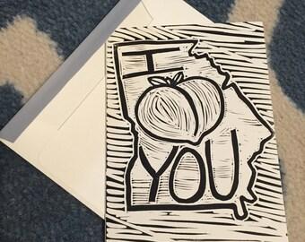 Handmade block print card