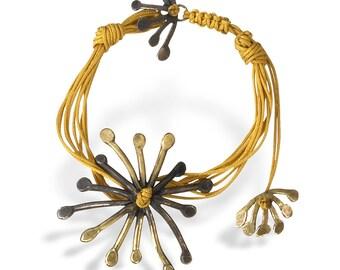 Summer Bracelets for Women, Silver Yellow Macrame Bracelet for Her, Fashion Adjustable Bracelet, Minimal Jewelry Star Bracelet, Gift Ideas