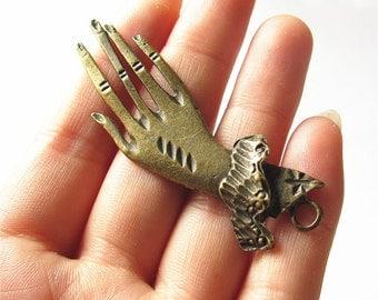 Thin Hand Charm Pendant Antique Brass Drop Handmade Jewelry Finding 30x69mm