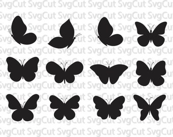 Butterflies SVG, Silhouette Digital Clipart , Clipart Butterflies SVG cutting files, Instant Download, Black Silhouette Clip art
