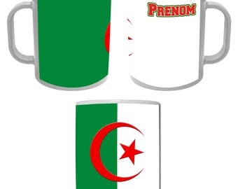 Mug Cup flag of Algeria personalized with the name of your choice