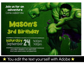 Hulk Birthday Invitation, Editable Text, Instant Download