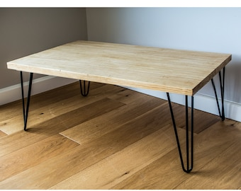 Rustic Solid Wood Coffee Table with 3 Prong 40cm Metal Hairpin Legs