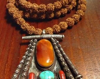 Old silver pendant Tibetan necklace