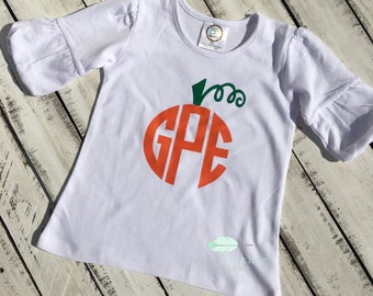 Toddler monogram pumpkin shirt//Fall monogram shirt//Pumpkin monogram shirt//Toddler Halloween shirt