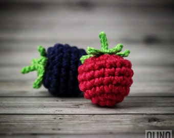 RASPBERRY BLACKBERRY Crochet Pattern PDF - Crochet blackberry Crochet raspberry Amigurumi berries patterns Crochet food patterns Play Food