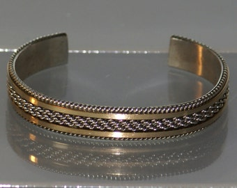 "Vintage Silver Cuff Bracelet Indian Native American Navajo Gold Plated Signed ""Gahe."" Rare Find!"
