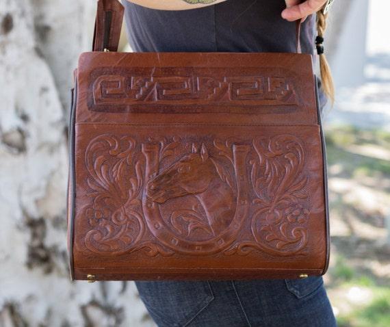 Vintage tooled leather horse purse