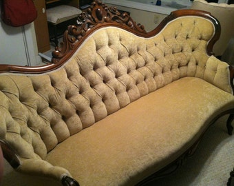 SALE ~ Antique Victorian Sofa ~ Early 1900's ~ Unique Furniture ~ Diamond Tufted ~ Ornate Carved Wood ~ Antique Furniture
