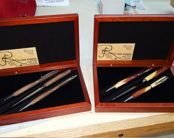 Hand turned pens, pencils, and letter openers