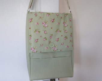 Green Floral A3 Shoulder Bag