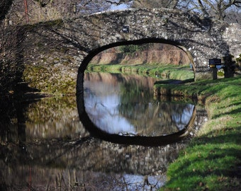 British Canal Bridge Print – Architectural Travel Photograph Reflected Canal Bridge in English Countryside Limited Edition